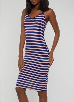 Striped V Neck Cami Dress - 1094058754635