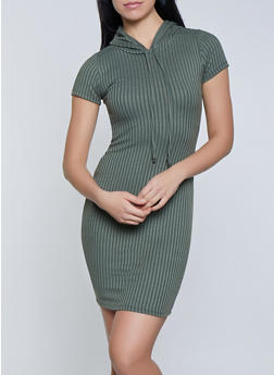 Ribbed Knit Hooded Dress - 1094058754636