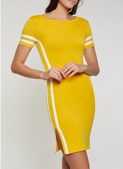 Varsity Stripe Side Slit T Shirt Dress - 1094058754637