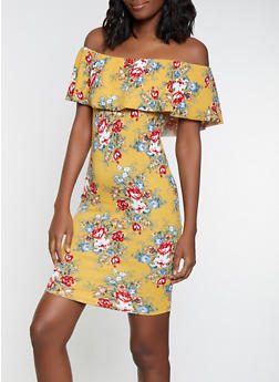 Floral Off the Shoulder Bodycon Dress - 1094058754647