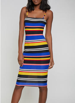 Striped Rib Knit Cami Dress - 1094058754651