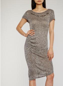 Marled Ruched Side Graphic Print Midi Dress - GREY-BLACK - 1094058935836