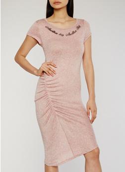Marled Ruched Side Graphic Print Midi Dress - MAUVE-BLACK - 1094058935836