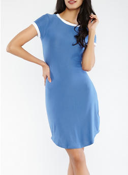 Soft Knit Contrast Trim T Shirt Dress - 1094061639656