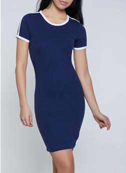 Contrast Trim Mini T Shirt Dress - 1094061639736