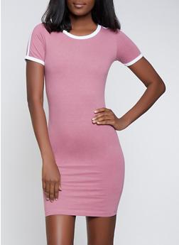 Contrast Trim Mini T Shirt Dress - 1094061639736