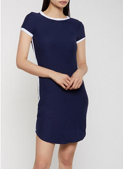 Contrast Trim Soft Knit T Shirt Dress - 1094061639737