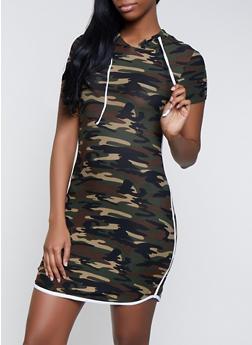 Contrast Trim Camo T Shirt Dress - 1094061639738