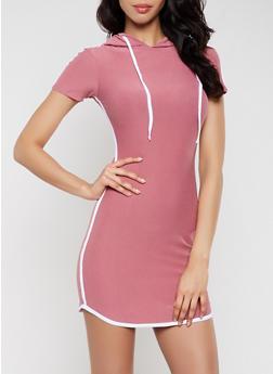 Hooded Varsity Stripe T Shirt Dress - 1094061639739