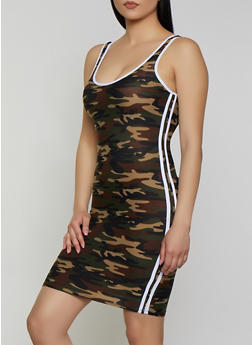 Camo Varsity Stripe Tank Dress - 1094061639741
