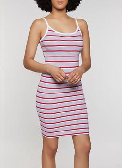 Striped Contrast Trim Cami Dress - 1094061639743