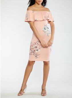 Floral Off the Shoulder Dress - 1094069390293