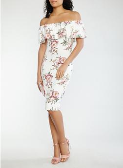 Printed Off the Shoulder Dress - 1094069390359