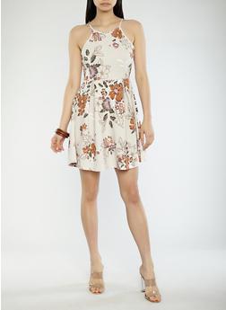 Floral Print Skater Dress - 1094069390457