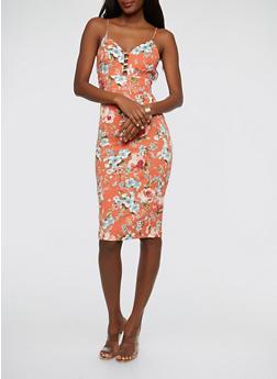 Floral Print Caged Neck Midi Dress - 1094069391179