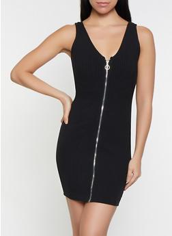 Zip Front Rib Knit Dress - 1094069393930