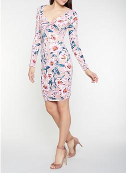 Floral Twist Front Midi Dress - 1094069393987