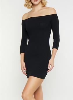 Off the Shoulder Rib Knit Dress - 1094069394048