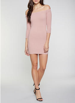 Off the Shoulder Rib Knit Dress - 1094069394048