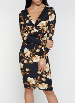 Floral Twist Front Bodycon Dress - 1094069394987