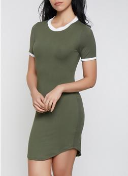Contrast Trim T Shirt Dress | 1094073371910 - 1094073371910