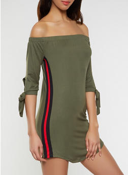 Side Stripe Off the Shoulder Dress - 1094073371988