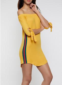 Side Stripe Off the Shoulder Dress - 1094073371988