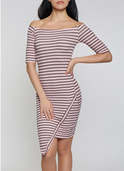 Striped Off the Shoulder Asymmetric Hem Dress - 1094073372001