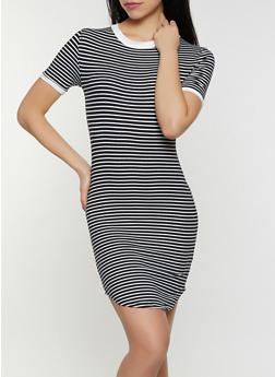 Striped Contrast Trim T Shirt Dress - 1094073372006