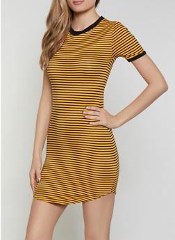 Striped Contrast Trim T Shirt Dress - 1094073372006