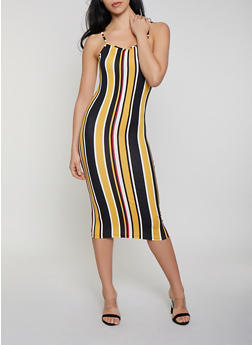 Striped Bodycon Cami Dress - 1094073372101