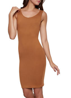 Solid Soft Knit Midi Tank Dress - 1094073372106