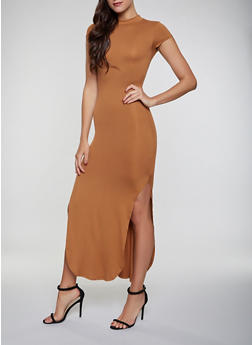Cut Out Back Side Slit Maxi Dress - Brown - Size S - 1094073372107