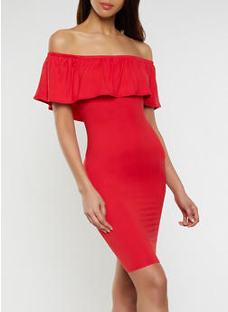 Ruffled Off the Shoulder Bodycon Dress | 1094073372108 - 1094073372108