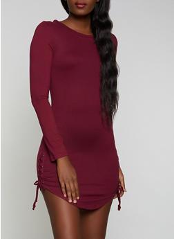 Lace Up Soft Knit Bodycon Dress - 1094073372201