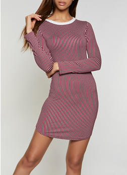 Striped T Shirt Dress - 1094073372203