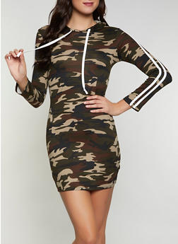 Camo Hooded One Pocket Dress - 1094073373006