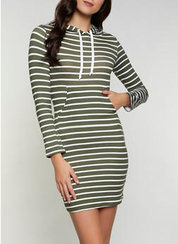 Soft Knit Striped Hooded T Shirt Dress - 1094073373007