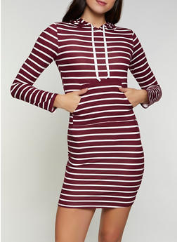 Soft Knit Striped Hooded T Shirt Dress - 1094073373007