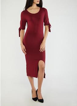 Soft Knit Tie Sleeve Dress - 1094073374611