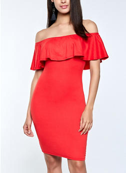 Ruffled Off the Shoulder Bodycon Dress - 1094073375008