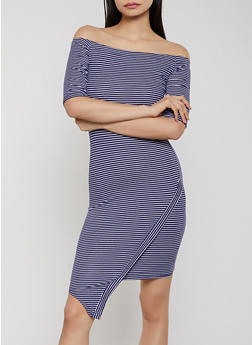 Striped Off the Shoulder Asymmetric Trim Dress - 1094073375201