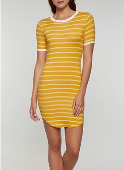 Contrast Trim Striped T Shirt Dress - 1094073375202
