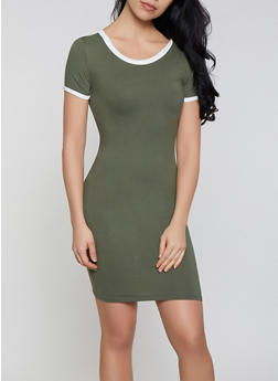 Contrast Trim T Shirt Dress | 1094073375203 - 1094073375203