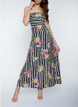 Floral Striped Strapless Maxi Dress - 1094073375204
