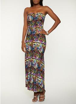 Snake Print Tube Maxi Dress - 1094073375206