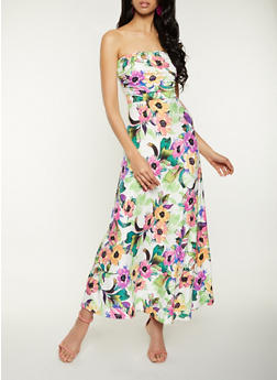 Floral Tube Maxi Dress - 1094073375207
