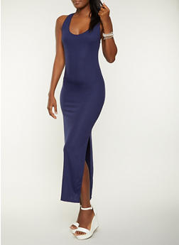 Ribbed Racerback Tank Maxi Dress - 1094073375519