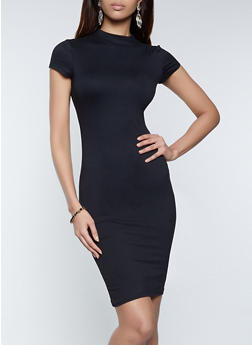 Mock Neck Bodycon Dress - 1094073375612