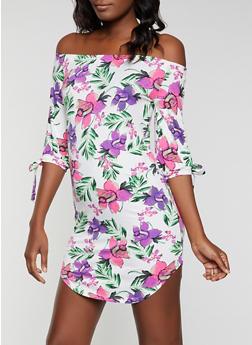 Tropical Floral Off the Shoulder Dress - 1094073375661